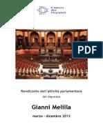 GIANNI MELILLA (SEL) ATTIVITA' PARLAMENTARE FEBBRAIO 2014