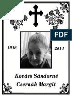 Kovács Sándorné - gyászjelentés
