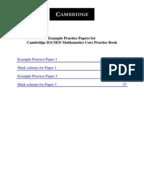 Cambridge Igcse Mathematics Core Practice Book Example