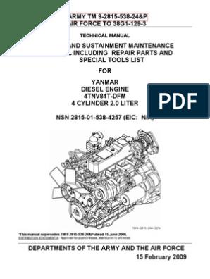 TM 9-2815-583-24P YANMAR DIESEL ENGINE 4TNV84T-DFM NSN 2815-01-538