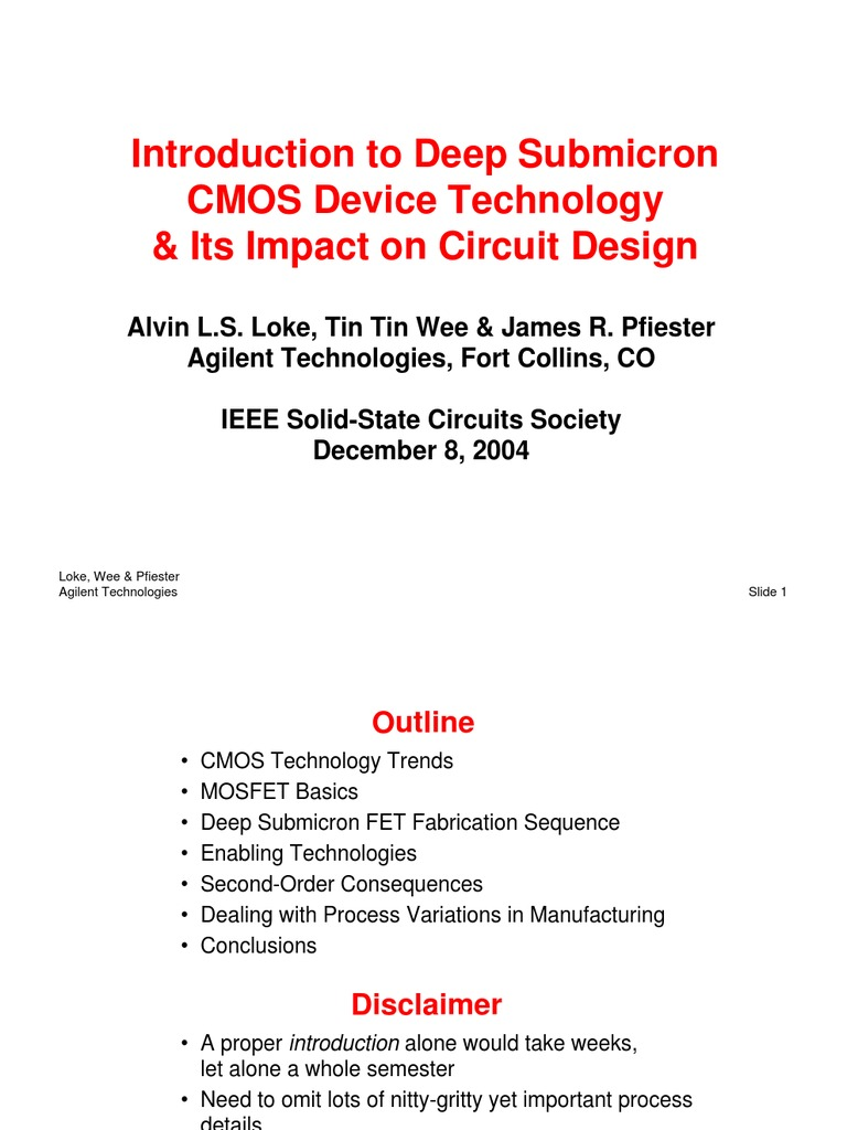 Introduction to Deep Submicron Cmos Devicw Tech & Its Impact on Ckt Design  | Field Effect Transistor | Mosfet