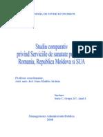 Studiu Comparativ Privind Serviciile de Sanatate Publica Din Romania, Republica Moldova Si SUA