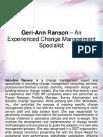 Geri-Ann Ranson – An Experienced Change Management Specialist