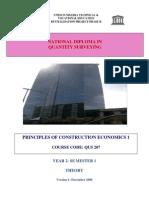 QUS 207 -Principles of Const. Econs I