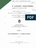 Censo de Argentina de 1914. Tomo 1.