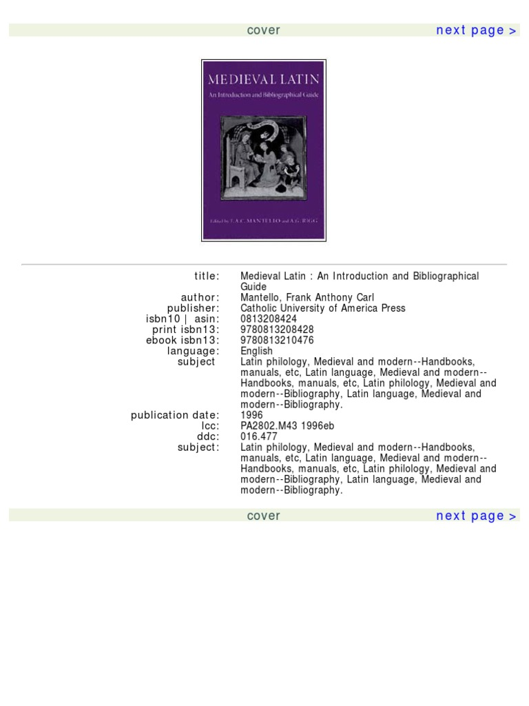 A. G. Rigg Medieval Latin an Introduction and Bibliographical Guide ...