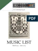 Music List March-June 2014