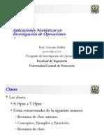 Clase 1 de Aplicaciones Numéricas en Investigación de Operaciones