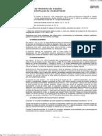 Critério do Ministério do trabalho para caracterização da Insalubridade