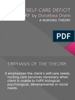 Self-care Deficit Theory by Dorothea Orem