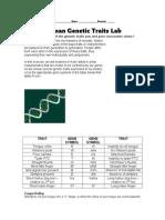 genetics - human genetic traits lab