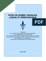 Mémoire de la SSJBM sur la charte de la laïcité