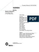 Agenda for February 2014 meeting of the Metro Board of Directors