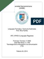 AFD, AFND, & Lenguajes Regulares - Francisco Torvisco 11-0402 & Jose Raul Nova 11-1162