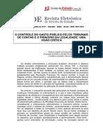 O Controle do Gasto Público pelos Tribunais de Contas e o princípio da legalidade - uma visão crítica - Marcos Nóbrega