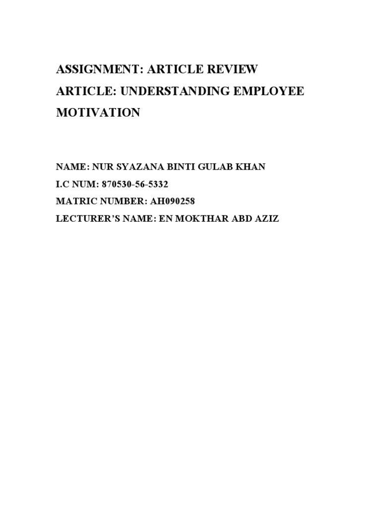 review of literature on motivation of employees
