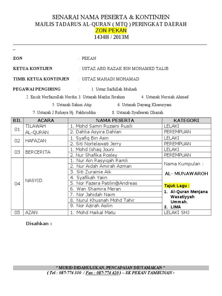 Borang Senarai Nama Kontinjen Mtq 2013 Zon Pekan