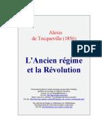 Alexis de Tocqueville--L'Ancien Regime Et La Revolution