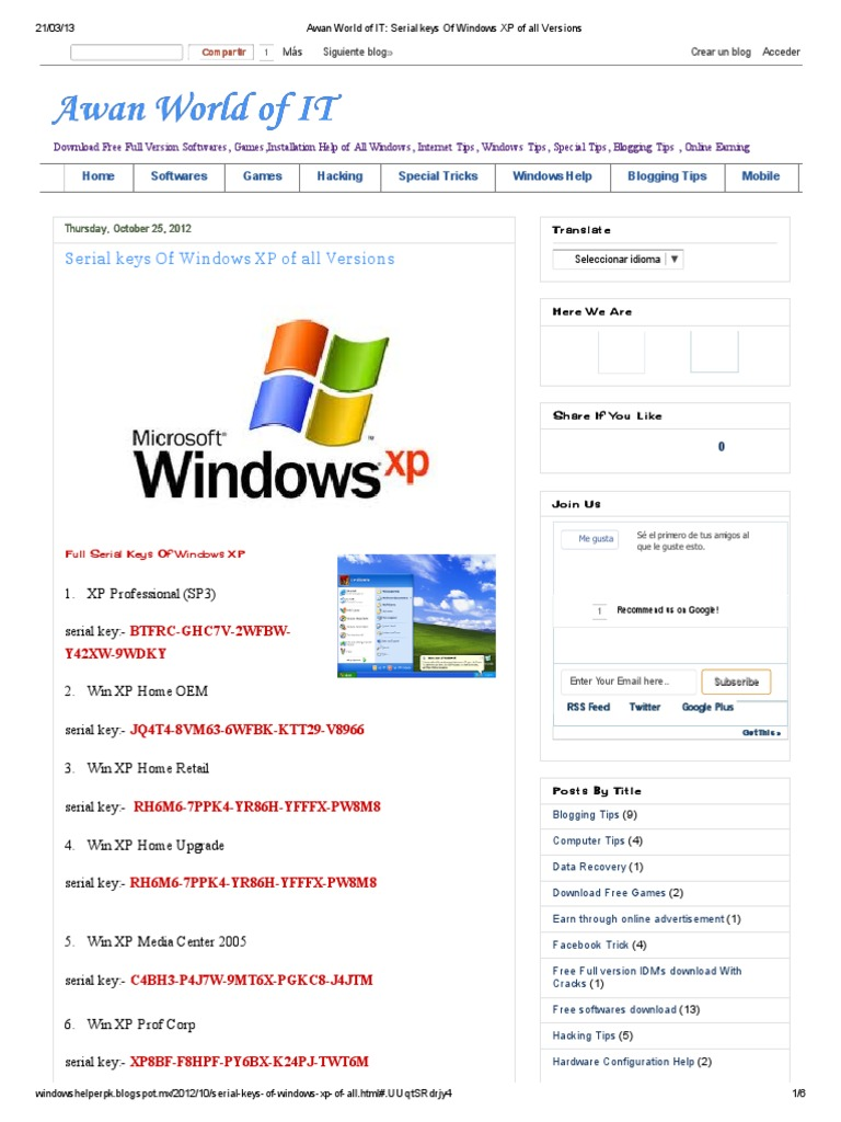 windows xp home oem key