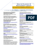 Clinical Corporate Governance - reading list