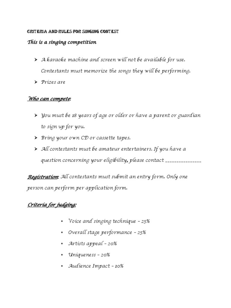 Criteria for judging for singing contest dances singing stopboris Images