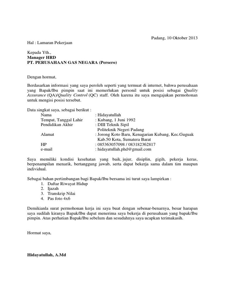 Surat Lamaran Pt Perusahaan Gas Negara Pgn Sebagai Qc