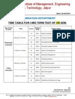 Exam Time Table I MTT VIII Sem March 2014