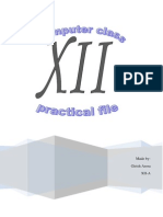 Computer Practical File for class 12