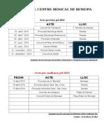 ACTES BANDA Previstos Pel 2014