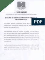 Press Release Stolen Hard Disk
