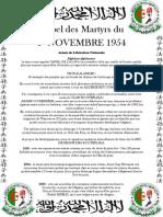 Appel Des Martyrs Du 1er Novembre 1954