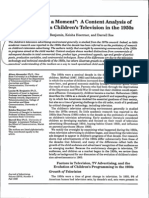 Content Analysis of Advertisements in Childrens Television in the 1950s