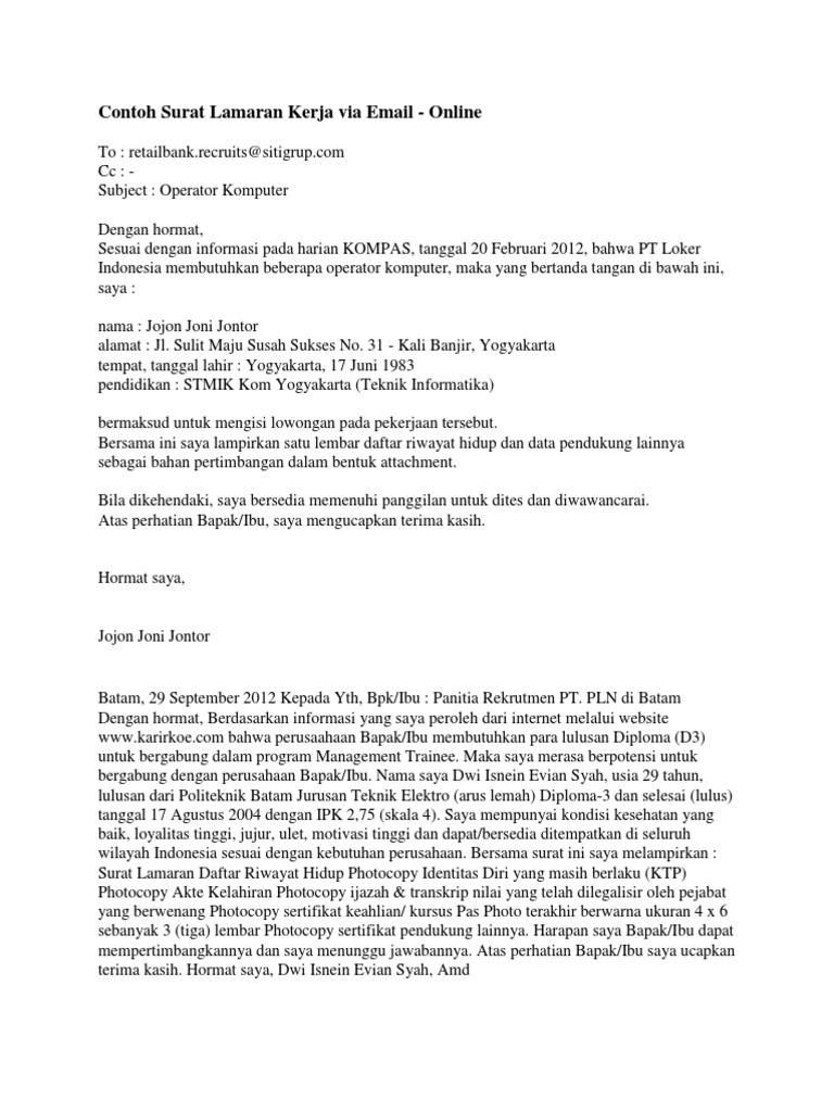 Contoh Surat Lamaran Kerja Via Email Docx