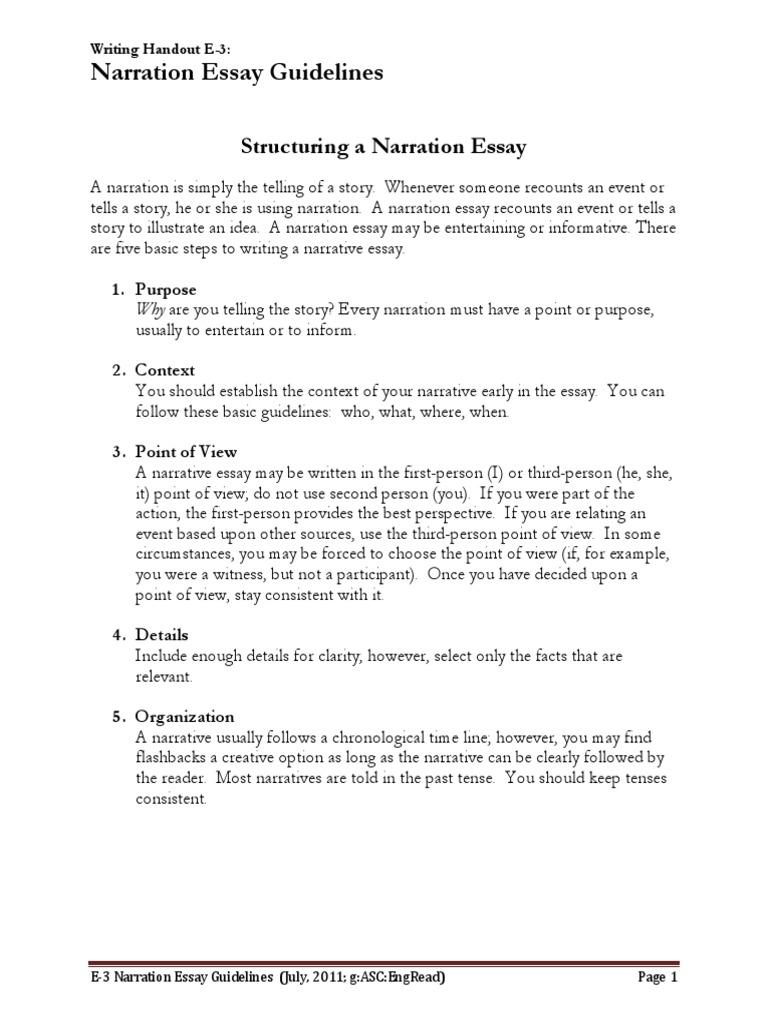 e narration essay guidelines narration narrative