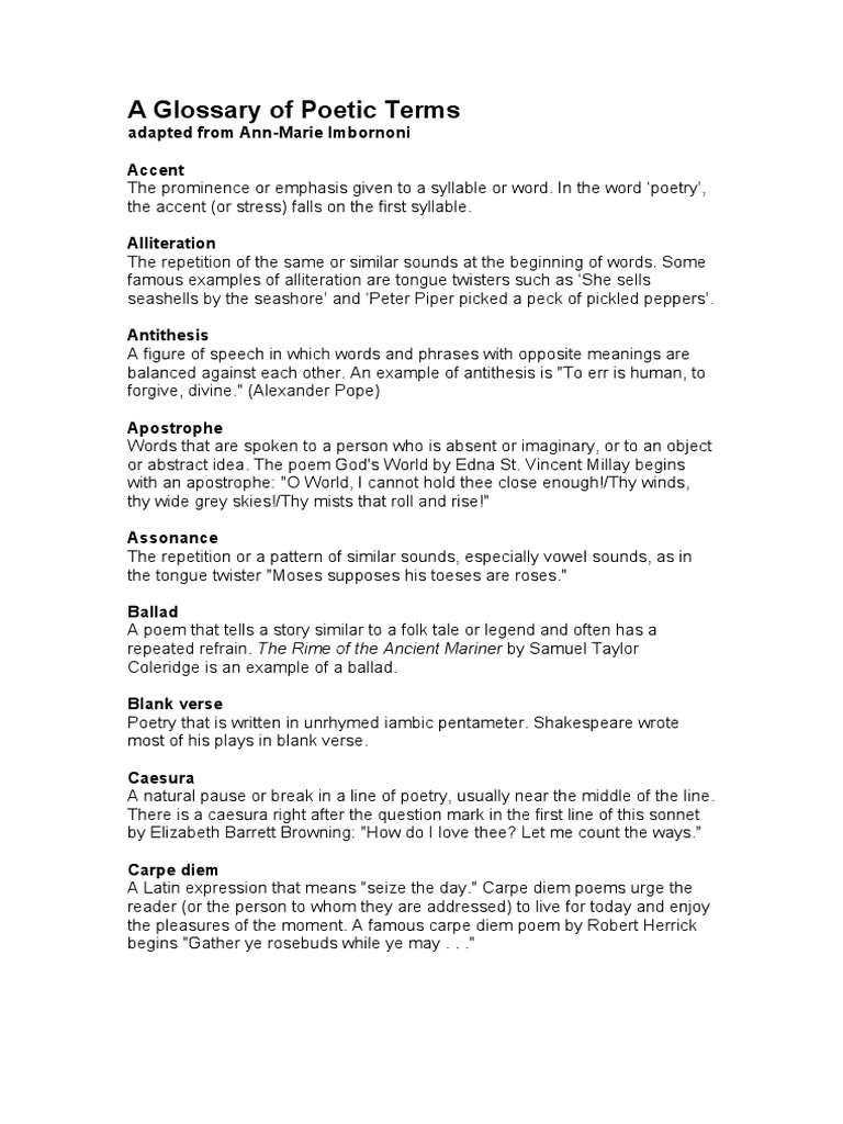 A Glossary Of Poetic Terms Metre Poetry Poetry