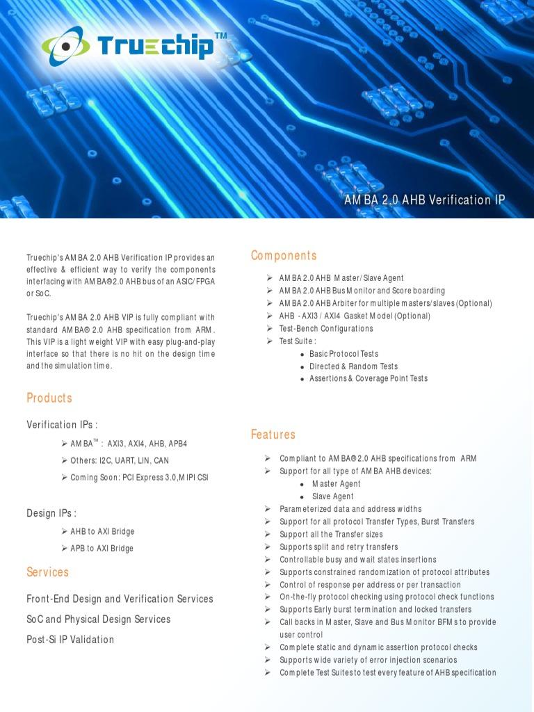 Truechip AMBA 2AHB3 Verification IP | System On A Chip