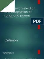 LGA 3102 Principles of Selection and Adaptation of Song and Poem