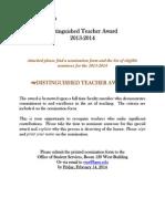 Distinguished Teacher Nomination Packet