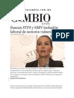 24-02-2014 Diario Matutino Cambio de Puebla - Buscan STPS y RMV inclusión laboral de sectores vulnerables.pdf