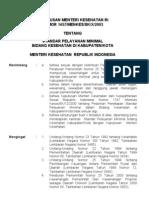 Standar Pelayanan Minimal Kabupaten KMK_no_145xxf7-Th-2003