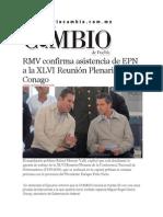 20-02-2014 Diario Matutino Cambio de Puebla  - RMV confirma asistencia de EPN a la XLVI Reunión Plenaria de la Conago.pdf
