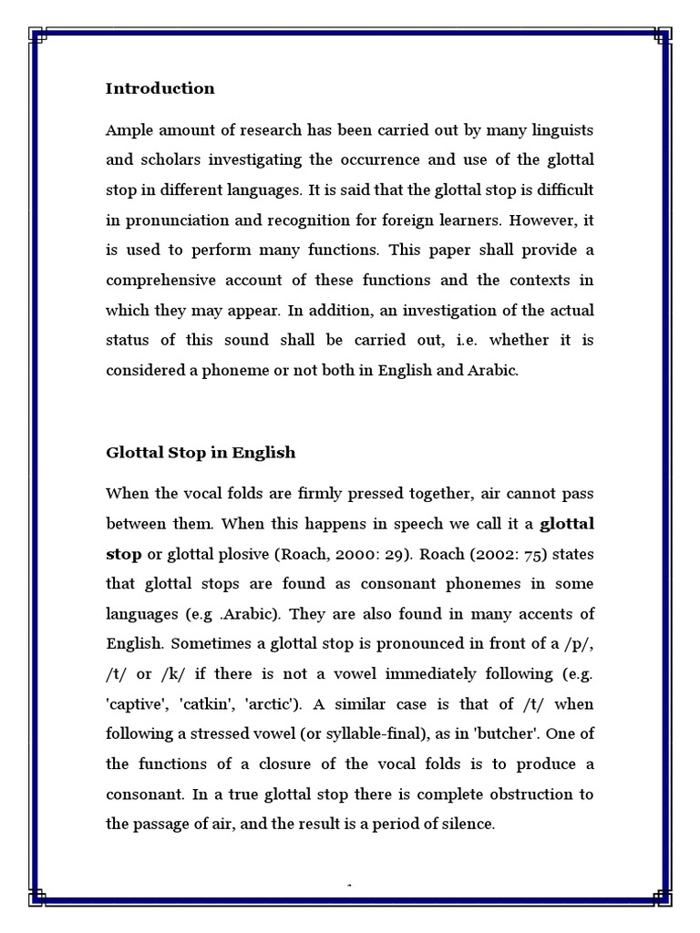 Glottal Stop In English And Arabic Syllable English Language