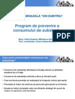 Program Prevenire Consum Substante Scoala Ion Dumitriu