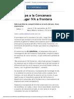 El Universal - - Preocupa a La Concanaco Homologar IVA a Frontera