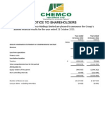 CHEM Audited Results for FY Ended 31 Oct 13