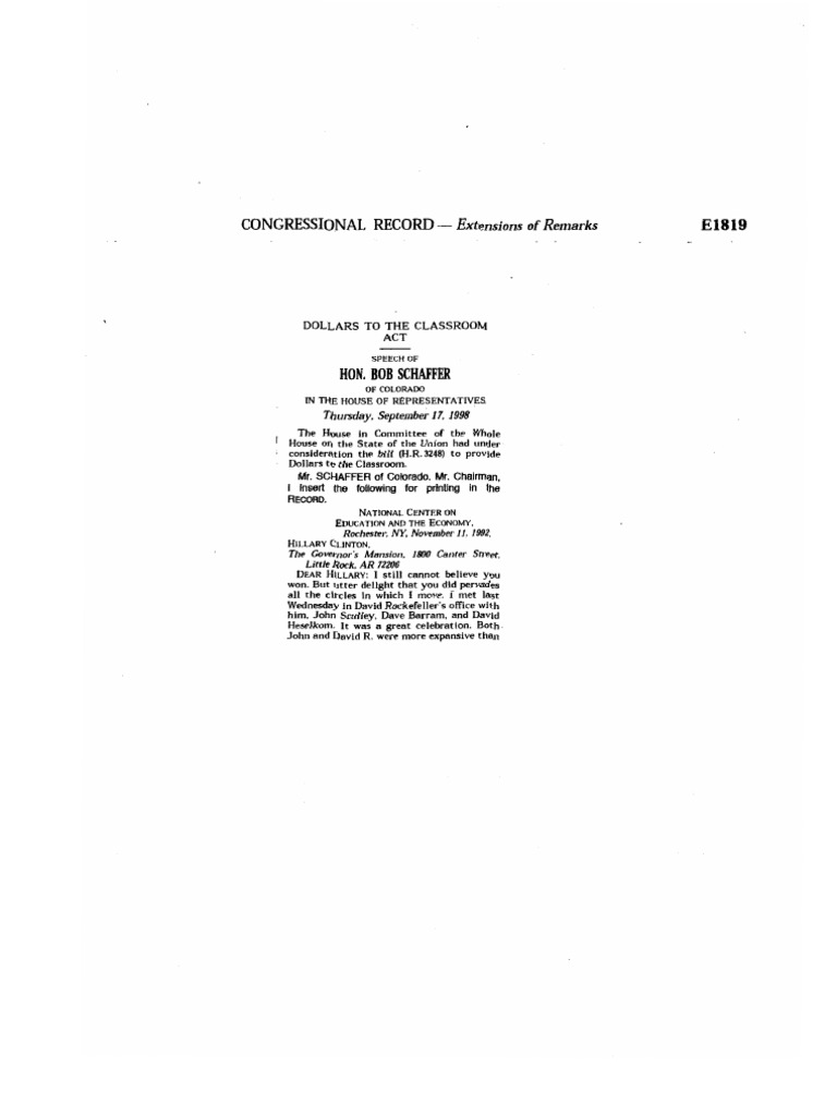 Dollars to the Classroom Act Congressional Record Bob