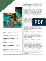 The Lost Hero Book Report