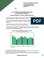 Encuesta Nacional de Ocupación y Empleo 4º trimestre 2013
