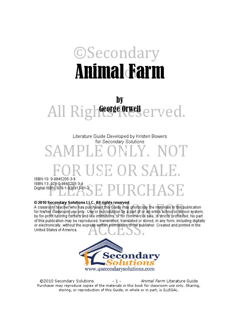 animal farm sample pages joseph stalin george orwell rh scribd com animal farm study guide answers novel units animal farm study guide answers novel units