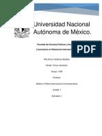 Rita Rocio Gutierrez Bedolla- Politica Internacional Contemporanea - Actividad 1 - Unidad 1